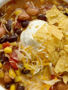 7 Can Chicken Taco Soup   Together as Family Rock Crock Recipes, Can Chicken Recipes, Chicken Taco Soup, Canned Chicken, Easy Soup Recipes, Quick Dinner Recipes, Chicken Tacos, Mexican Food Recipes, Cooking Recipes