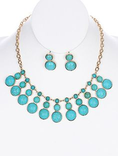 Turquoise Stone Circles Bib Necklace Set from Helen's Jewels