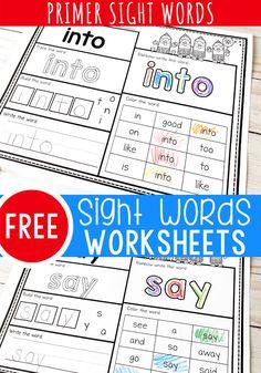 Print & Go Kindergarten Sight Word Worksheets