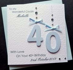 Handmade Personalised Baby Blue 18th 21st 40th 60th 70th 80th Birthday Card