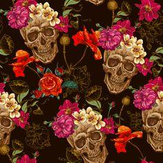 pattern skulls - Buscar con Google                                                                                                                                                                                 Más