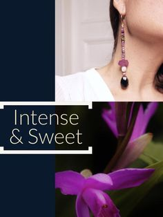 Inspired by Tropical Blooming Flowers & French Powder Scent. Made with: Rubies Purple Agate Fresh Authentic Water Pearls Gold Agate Onyx Gold Hand Made Hoops Purple Agate, Water Pearls, Gold Hands, Blooming Flowers, Orchids, Rain, African, Handmade, Jewelry