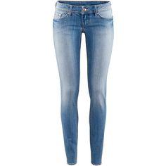 H&M Super Skinny Super Low Jeans (240 MXN) ❤ liked on Polyvore featuring jeans, pants, bottoms, calças, pantalones, light denim blue, low rise jeans, skinny low jeans, 5 pocket jeans and skinny fit jeans