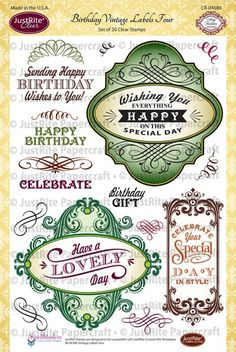 "JustRite Papercraft Birthday Vintage Labels Four - 6"" x 8"" Clear Stamp Set designed by Amy Tedder"