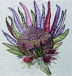 Protea - Exotic Flowers Embroidery Kit from Rowandean Embroidery Free Motion Embroidery, Free Machine Embroidery, Embroidery Kits, Embroidery Stitches, Embroidery Designs, Vintage Embroidery, Creative Textiles, Thread Painting, Thread Art