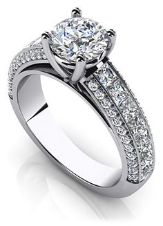 Brilliant Round and Princess Cut Engagement Ring