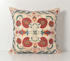 Suzani Pillows 20x20 Vintage Hand Embroidered Floral by pillowme, $78.00