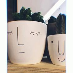 Check out these super cute and her Urban Outfitters - Succulent Planters İdeas - Cactus Painted Plant Pots, Painted Flower Pots, Decorated Flower Pots, Pottery Painting, Ceramic Painting, Face Planters, Succulent Planters, Urban Outfitters, Flower Pot Design