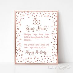 Ring Hunt Bridal Shower Game Sign, Rose Gold Glitter Confetti Wedding Shower Game, 2 Sizes, INSTANT DOWNLOAD