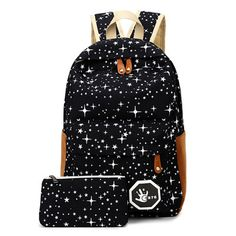 RoyaDong Women Backpack For Teenage Girls School Bags Rucksack Back Pack  Canvas Cute Stars Printing Backpack Set For Children 404d752537