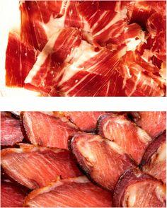 #Spanish #food. Jamon Iberico, Lomo Iberico, Chorizo de Cantimpalos, Salchichon de Vic. Spanish charcuterie with PGI (Protected Geographical Indication).