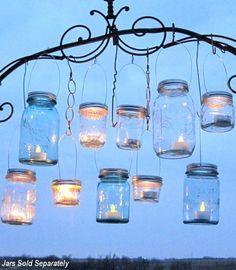mason jars as lighting, vases