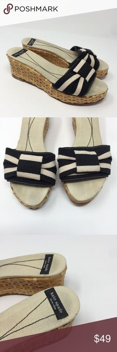 ♠️Kate Spade Wedge Sandals Striped 7 ✨ Soooo cute!! In excellent condition!! 💕 kate spade Shoes Sandals