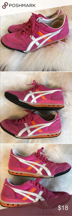 ASICS Onitsuka Tiger pink sneakers! Size 8.5 Awesome shoes from Asics! These are the Onitsuka Tiger shoes in pink, orange and white! Good condition, a spot on one part, see pics, faces the inside so not a big deal. These are so cute! Asics Shoes Sneakers