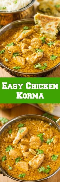 This Easy Chicken Korma Curry is so delicious and simple to make for a special dinner. Faster and better than take out curry! Easy Chicken Recipes, Easy Dinner Recipes, Easy Meals, Indian Food Recipes, Asian Recipes, Indian Foods, Chicken Korma Recipe, Chicken Curry, Comida India