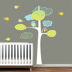 Vinyl Wall Decal Tree with Owls Birds Children Nursery Decals on Etsy, $99.00