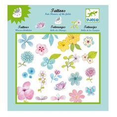 Σετ επιλεγμένων τατουάζ με πολύχρωμα λουλούδια. Εύκολα στην εφαρμογή, αφαιρούνται όπως τα αυτοκόλλητα. Δερματολογικά ελεγμένα.