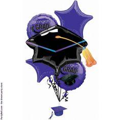 High School Graduation Party Ideas | Congrats Grad Purple Graduation Foil Balloon Bouquet - Purple