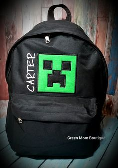 FREE PERSONALIZATION Minecraft Creeper or Diamond Inspired Backpack junior  preschool or elementary size personalized 19a05ed2180b8
