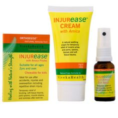 Injurease products contain Arnica plus other traditional ingredients for natural pain and injury relief. Includes Injurease Cream, Oral Spray, Chewable Pills - for injuries at Sports, Gym, Work, Home.