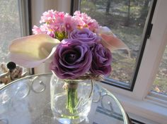 Beautiful  Silk Flower Arrangement purple rose by FlowerIsland