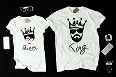 """T-shirts for couple """"KING and QUEEN"""" by EnryPRINT on Etsy"""