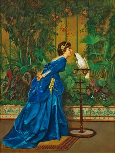 LADY WITH A PARROT, BY AUGUSTE TOULMOUCHE - Looks like another variation of the same blue velvet dress