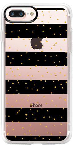 Black white gold faux glitter stripes dots