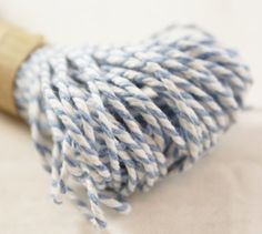 Studio Sale - 100 YARDS - CHUNKY Cool Baby Blue & White Bakers Twine String for crafting, gift wrapping, packaging, invitations