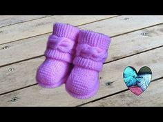 Dos agujas Botitas bebe Uggs parte 1/2 Patucos botas zapatitos bebe tejidos a dos agujas - YouTube