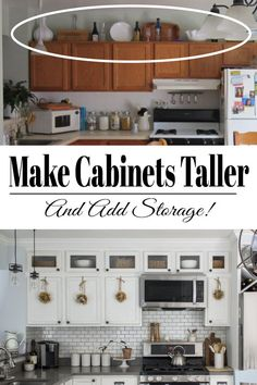 A step by step guide on how to add height to your kitchen cabinets. Tall kitchen cabinets will make your kitchen look and feel bigger as well as give it a more customized look. Tall Kitchen Cabinets - How to Add Height - The Honeycomb Home Diy Kitchen Remodel, Kitchen Redo, Kitchen Hacks, Rustic Kitchen, Design Kitchen, Kitchen Layout, Kitchen Modern, Kitchen Cabinet Remodel, Country Kitchen