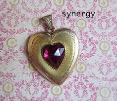 Antique Heart Shaped Locket With Faceted Heart Simulated Garnet Gemstone, Bates and Bacon Hallmark in Gold Fill, Bloomed Finish