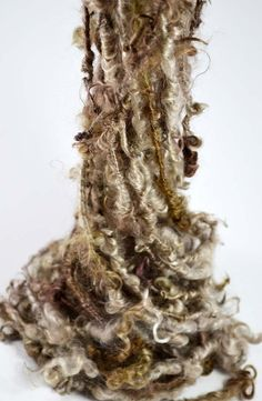 Morning Mist  Art yarn 2.8 yards white and brown by moonsongranch, $23.00
