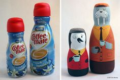 """Artist Eric Barclay takes ordinary food packaging, and breathes life into them with some hand painting. Whether a Coffee-Mate container, or Diet Coke can, Barclay creates three-dimensional versions of his unmistakable characters. He even finds a use for French's Mustard — impressive."""