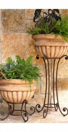 "SET of 3 LOVELY /""BRAVA/"" TALL ROUND MOSAIC PLANT STANDS BARGAIN PRICE"