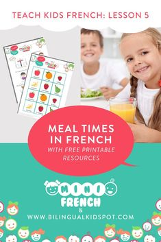French for Kids Lesson 5: Mealtime in French Language Study, Learn A New Language, French Language, Learning French For Kids, Teaching French, Hello English, Rainbow Songs, Kids Series, French Resources