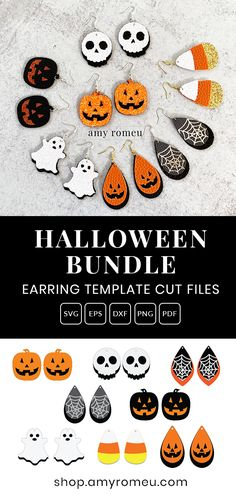 Halloween Earrings SVG Bundle - Set of 8 Stacked Earrings File for Cricut & Silhouette This is a DIGITAL file download BUNDLE that contains ALL of the following Halloween earring SVG designs as shown in the first image:Candy CornGhostTeardrop Jack O'LanternSkullSpiderweb Teardrops (2 versions)Jack O'Lantern Pumpkins (2 cutting options - one is two layers of faux leather, the second is one layer of faux leather with heat transfer vinyl heat pressed on top)You'll receive these shapes as shown, Halloween Crafts To Sell, Halloween Vinyl, Halloween House, Diy Leather Earrings, Diy Earrings, Leather Jewelry, Vinyl Crafts, Cricut Vinyl Projects, Cricut Stencils
