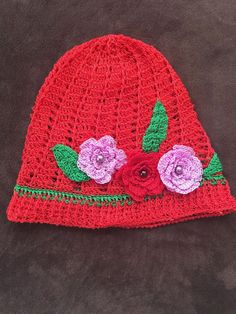 red Panamá hat by itsybitziAngel on Etsy