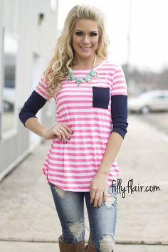 Striped in neon and navy is perfect for Spring! Get it at Filly Flair!
