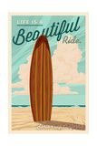 Santa Cruz, California - Life is a Beautiful Ride - Surfboard - Letterpress Posters par  Lantern Press