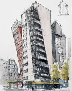 Esquina entre Rue du Maroc y la Avenue de Flandre, París. Architecture Drawing Sketchbooks, Architecture Concept Drawings, Watercolor Architecture, Facade Architecture, Landscape Architecture, Urban Design Concept, Perspective Sketch, Building Sketch, Facade Design