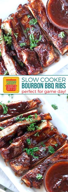 You NEED to try these Slow Cooker Pork Ribs with Bourbon BBQ Sauce! Possibly the EASIEST way to make BBQ Ribs EVER! Score big when you feed your hungry game day crowd these FALL OFF THE BONE tender, sticky ribs! The perfect Easy Football Food Idea for Game day! #SundaySupper #SlowCookerPorkRibs #BourbonBBQSauce #EasyFootballFood #FootballAppetizers