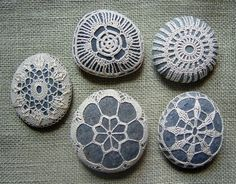 Interesting wedding or party favor: crocheted lace stones.
