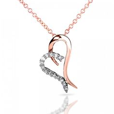 Floating Diamond Heart Pendant 1/5 CTW in 14k Rose Gold