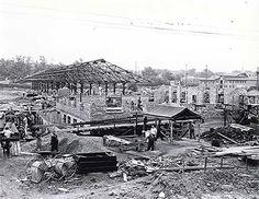 The original Flint Farmer's Market under construction.