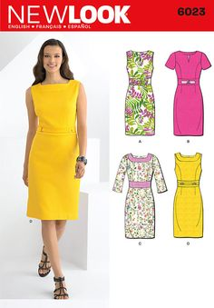 misses' dress with neckline and sleeve variations