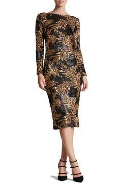 Dress the Population 'Emery' Scoop Back Two-Tone Sequin Sheath Dress