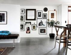 full hallway gallery wall