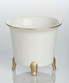 White Round Cachepot with Gold