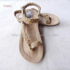 The new Thailand to import manual linen slippers summer Metrosexual essential hand woven hemp sandals male 38# Ma